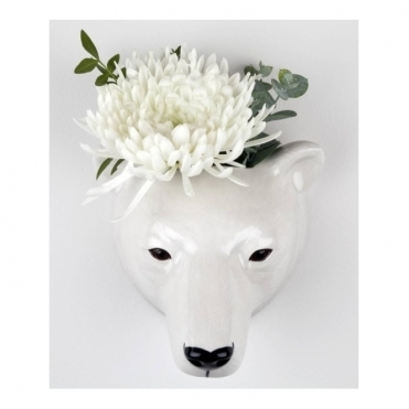 Polar Bear Head Wall Vase