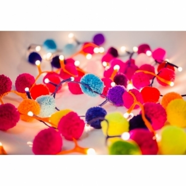 Rainbow Pom Pom Multi Coloured Fairy LED String Lights