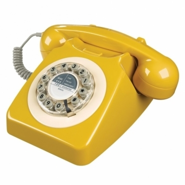 Retro 746 Push Button Telephone English Mustard Phone
