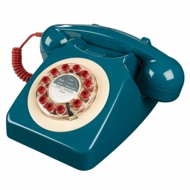 Retro 746 Push Button Telephone Petrol Blue & Red Phone