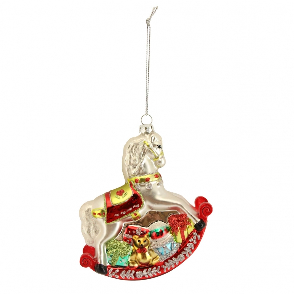 Christmas Horse Decorations.Rocking Horse Glass Christmas Tree Ornament Hanging Decoration