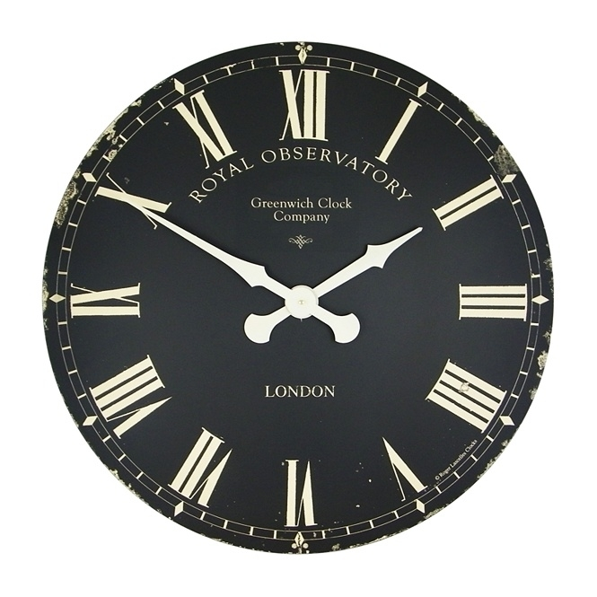 Roger Lascelles Extra Large Greenwich Dial Wall Clock Black