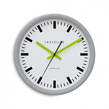 Grey Swiss Station Wall Clock - Lime Hands
