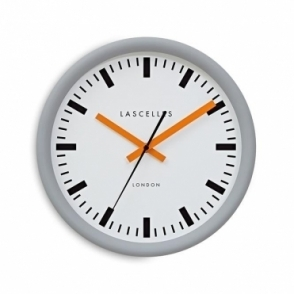 Grey Swiss Station Wall Clock - Orange Hands