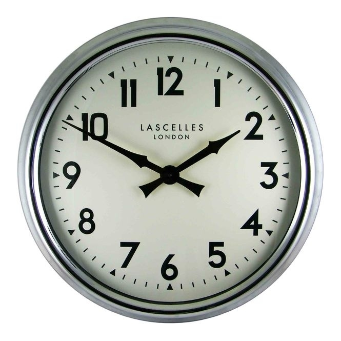 Roger Lascelles Large Chrome Wall Clock 60cm Hurn And Hurn