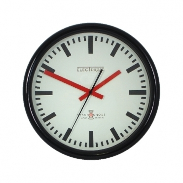 Swiss Station Wall Clock Black 30cm