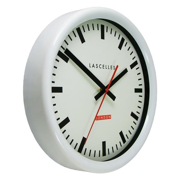Roger Lascelles Swiss Station Wall Clock White 30cm