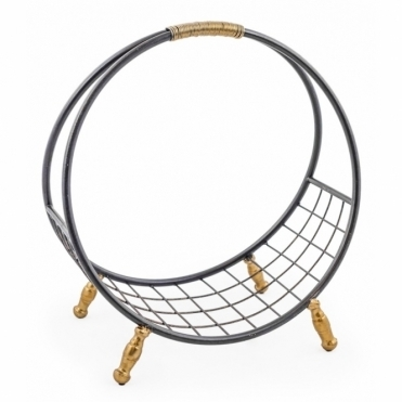 Round Metal Log Basket / Shelf - Black & Gold