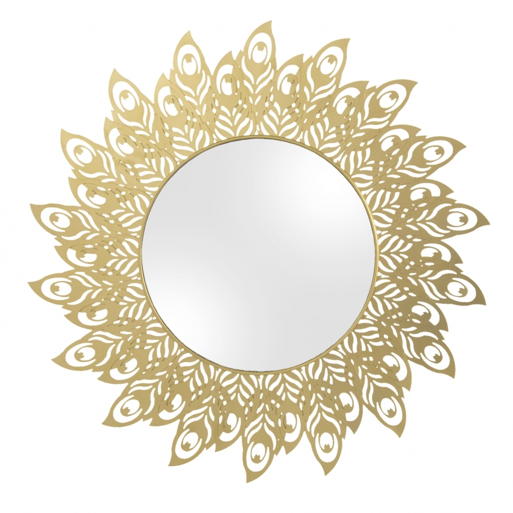 f9eb8f75bcfe Round Steel Peacock Feather Wall Mirror - Golden