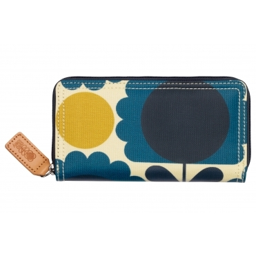 Scallop Flower Spot Big Zip Wallet Purse - Denim
