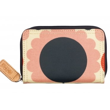 Scallop Flower Spot Medium Zip Wallet Purse - Blush