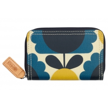 Scallop Flower Spot Medium Zip Wallet Purse - Denim