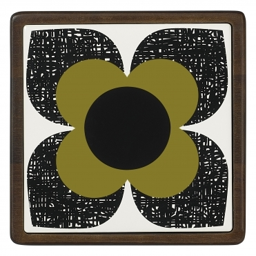 Scribble Square Flower Ceramic And Wood Trivet - Seagrass
