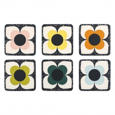 Scribble Square Flower Coasters - Set of 6
