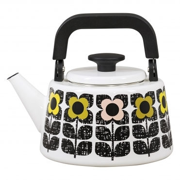 Scribble Square Flower Enamel Kettle - Multi