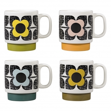 Scribble Square Flower Stacking Mugs - Set Of 4