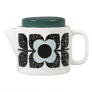 Scribble Square Flower Teapot - Aqua
