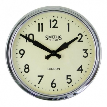 Sectric Retro Chrome Wall Clock 38cm
