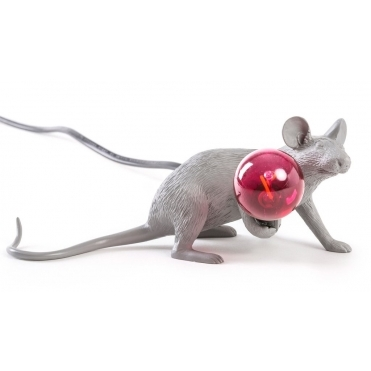 Grey Mouse Lamp - Crouching