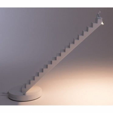 Verso Man on Stairs Table Lamp - White