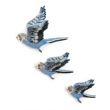 Felt Flying Blue Budgies Wall Art - Set of 3