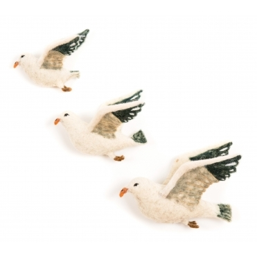 Felt Flying Seagulls Wall Art - Set of 3