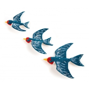 Felt Flying Swallows Wall Art - Set of 3