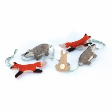 Felt Woodland Animals Garland Bunting : Badger, Fox & Rabbit