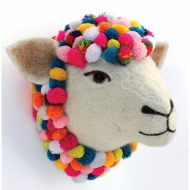 Jazzy the Sheep Felt Animal Head with Pom Poms
