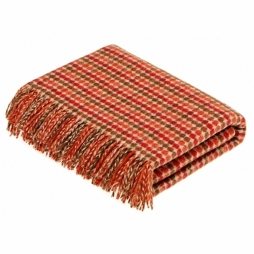 Shetland Wool Chicago Terracotta Throw Blanket
