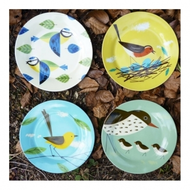 Side Plates Set of 4 : Blue Tit, Robin, Thrush & Wagtail