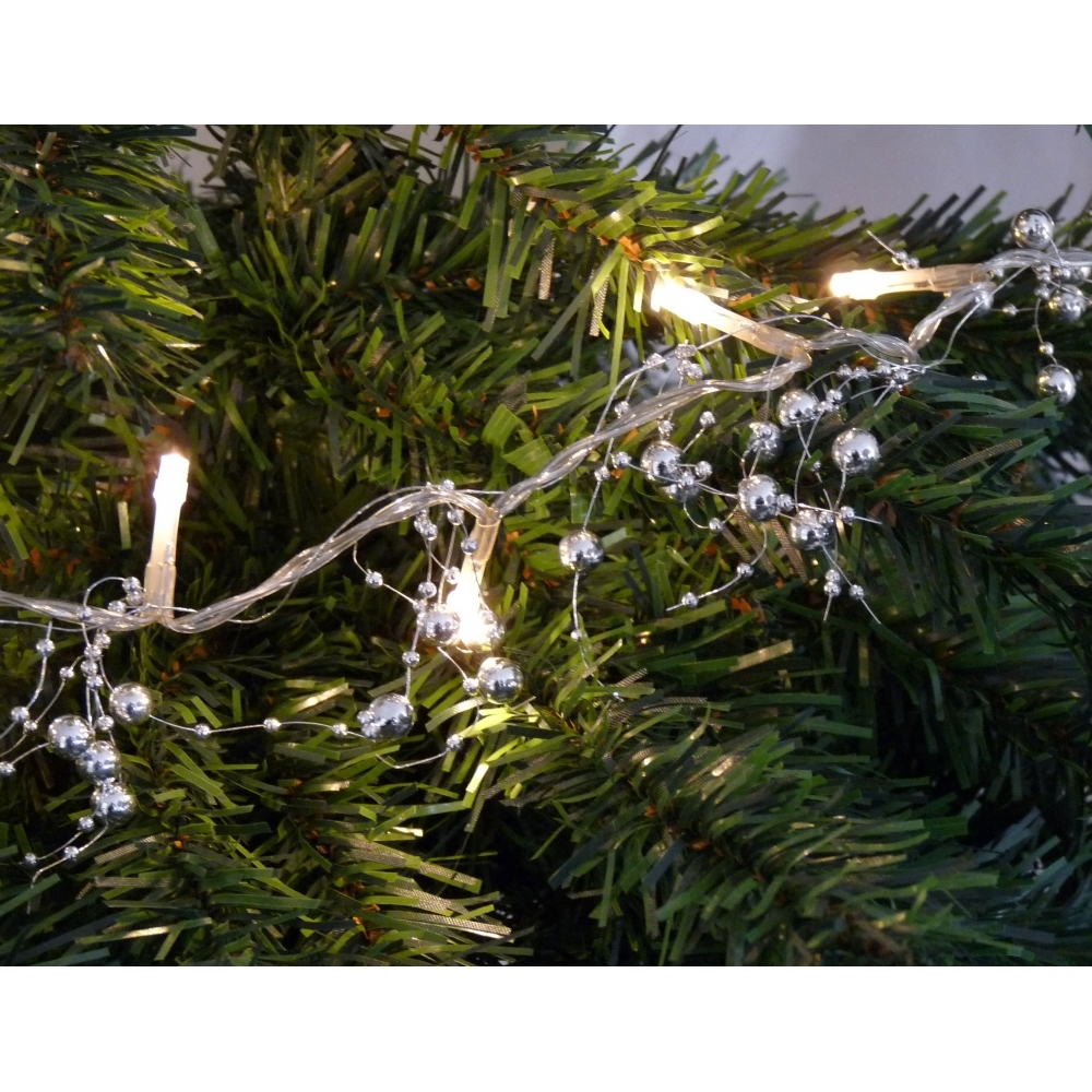 Hurn Discoveries Silver Bead Garland Warm White Led String Lights