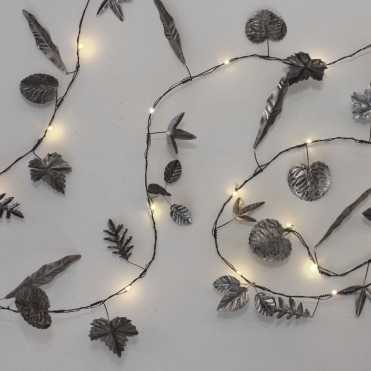 Silver Leaves Garland LED String Lights - Indoor / Outdoor