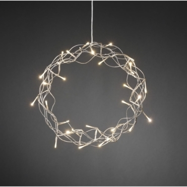 Silver Metal Christmas Wreath Warm White LED's