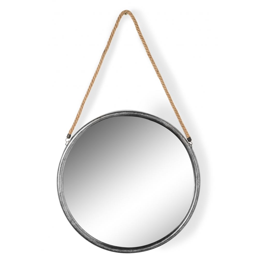 silver round mirror on hanging rope large hurn and hurn. Black Bedroom Furniture Sets. Home Design Ideas