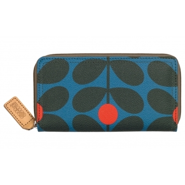 Sixties Stem Big Zip Wallet Purse - Kingfisher