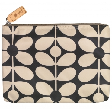 Sixties Stem Large Zip Pouch Bag - Charcoal Blue