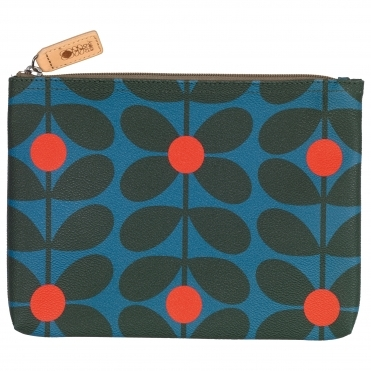 Sixties Stem Large Zip Pouch Bag - Kingfisher