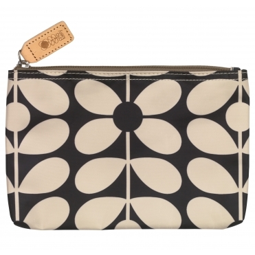 Sixties Stem Medium Zip Pouch Bag - Charcoal Blue