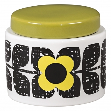 Small Scribble Square Flower Storage Jar - Sunshine