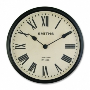 Large Station Wall Clock with Roman Numerals Black