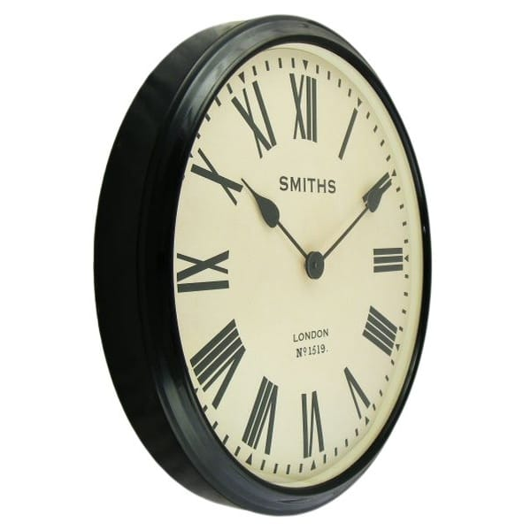 Smiths Clocks Large Station Wall Clock Black Roman Numerals