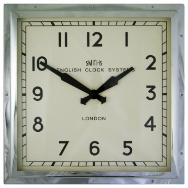 Square Wall Clock Chrome 41cm