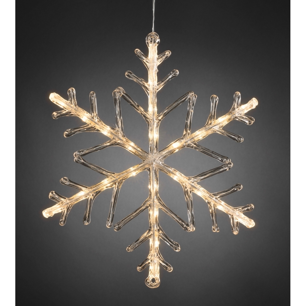 Snowflake outdoor light 40cm warm white led battery hurn - Snowflake exterior christmas lights ...