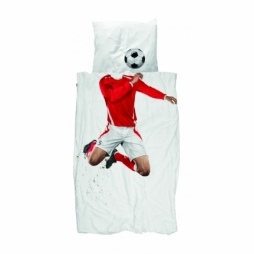 Football Champ Single Duvet Cover & Pillowcase Set - Red