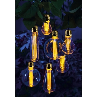 Solar Edison Style Bulb Warm White LED String Lights