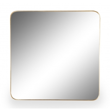 Square Brushed Gold Wall Mirror 70cm - Large