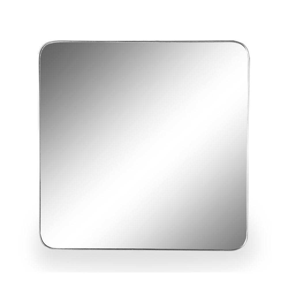 Square Brushed Silver Wall Mirror 70cm Large