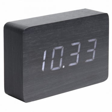 Square LED Alarm Clock with Date & Temperature - Black Wood
