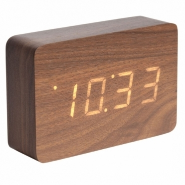 Square LED Alarm Clock with Date & Temperature - Dark Wood